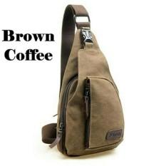 Spesifikasi Bag Tas Selempang Pria Bahan Jins Men Sling Terlaris Brown Baru