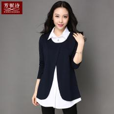 Diskon Besarbagian Panjang Baru Longgar Lengan Panjang T Shirt Safir Biru Safir Biru Baju Wanita Baju Atasan Kemeja Wanita