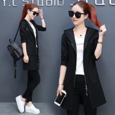 Harga Korea Fashion Style Musim Semi Dan Musim Gugur Perempuan Baru Kasual Berkerudung Kardigan Hitam Oem