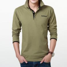 Spesifikasi Bagian Tipis Memiliki Kerah Baju Kaos T Shirt Hijau Tentara Kerah Hitam Yang Bagus
