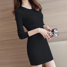 Beli Bagian Tipis Slim Lengan Panjang Setengah Panjang Model Tas Wanita Gaun Hitam Awal Musim Gugur Bagian Tipis Baju Wanita Dress Wanita Gaun Wanita Pakai Kartu Kredit