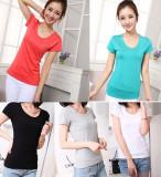 Jual T Shirt Kemeja Nyaman Katun Kaos Dalam Warna Dasar Yang Solid Heather Gray Warna Baju Wanita Baju Atasan Kemeja Wanita Grosir