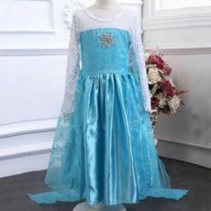 Baju Anak Elsa Premium Dress Long Blue White Sayap berwarna Biru