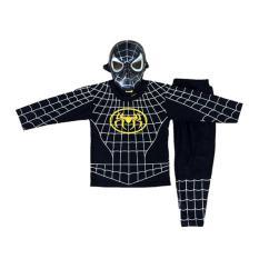 Baju Anak Kostum Topeng Superhero Spiderman HItam(FA61)