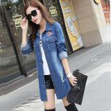 Aiyilu Jaket Wanita Panjang Sedang Versi Korea Bahan Jeans Model Longgar Berlubang Biru Promo Beli 1 Gratis 1