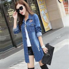 Diskon Aiyilu Jaket Wanita Panjang Sedang Versi Korea Bahan Jeans Model Longgar Berlubang Biru Akhir Tahun
