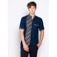 JogjaMarket Baju Atasan Pria Kombinasi Batik Dude - Blue