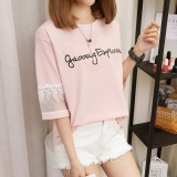 Spesifikasi Xianyuansu Kaos Oblong Wanita Warna Oranye Merah Muda Putih Biru Renda Longgar Versi Korea 160 Merah Muda Baru