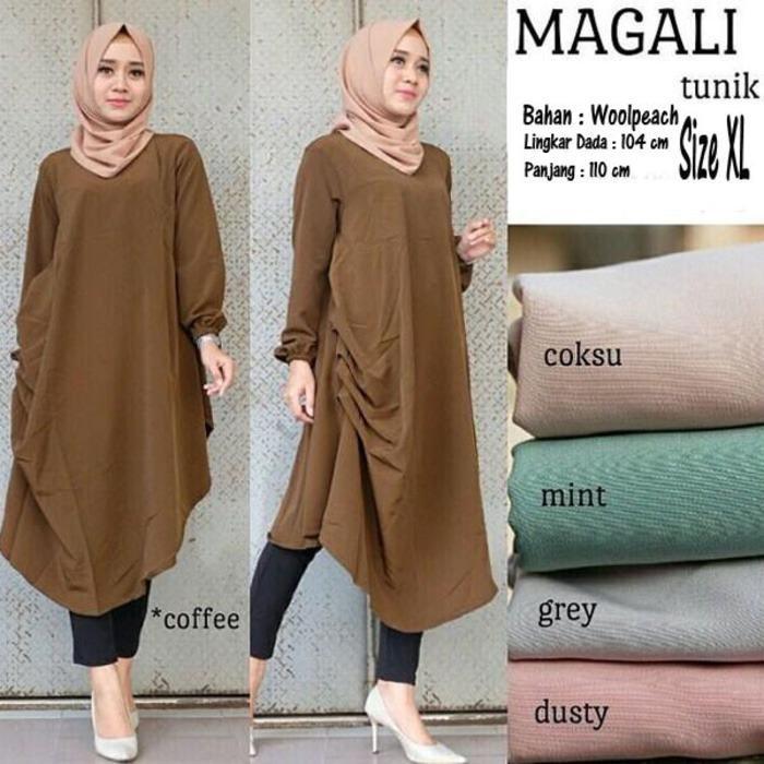Lingkar Lengan   42 cm Baju Atasan Wanita Magali Tunik Blouse Baju Muslim  Blus Muslim ce931e1f40