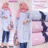 Spesifikasi Baju Atasan Wanita Polo Stripe Murah