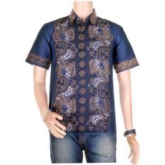 Baju Batik Casual Pria Lengan Pendek Batik Katun / Baju Batik Koko Muslim - Biru