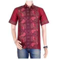 Baju Batik Casual Pria Lengan Pendek Batik Katun / Baju Batik Koko Muslim - Merah