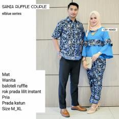 Batik Couple / Baju Batik Sarimbit SANIA RUFFLE - BIRU