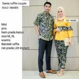 Jual Batik Couple Baju Batik Sarimbit Sania Ruffle Gold Branded