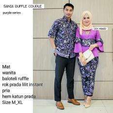 Batik Couple / Baju Batik Sarimbit SANIA RUFFLE - UNGU