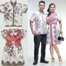Baju Batik Couple Keluarga Modern Katun Kombinasi Brokat - Luna Melati Series