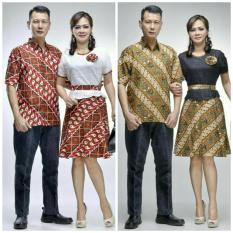 Baju Batik Couple Kemeja Batik Dan Dress Batik Katun Kombinasi Brokat - Rosiana Series