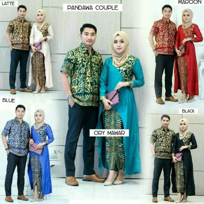 DISKON Baju batik couple sarimbit seragam pesta hijab gamis muslim ... 41ebf73c1f