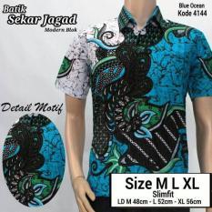 Toko Baju Batik Kantor Baju Batik Kerja Atasan Batik Hem Batik Pria Motif Jagad Tosca Lengkap Di Di Yogyakarta