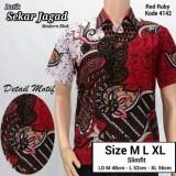 Toko Baju Batik Kantor Baju Batik Kerja Atasan Batik Pekalongan Motif Jagad Merah Azka Batik
