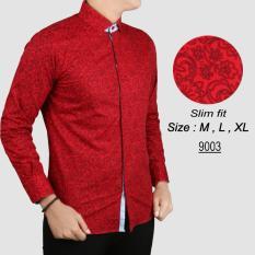 Harga Baju Batik Modern Kemeja Pria Slim Fit 9003 Fullset Murah