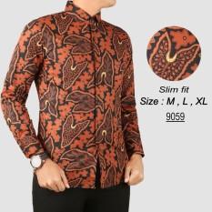 Jual Baju Batik Modern Kemeja Pria Slim Fit 9059 Branded Murah