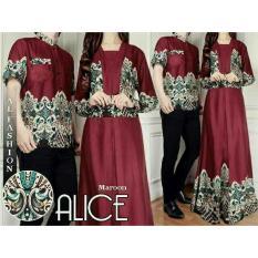 Baju Batik Pasangan Pesta / Kemeja Batik Pasangan Kondangan / Couple Batik Muslim ALICE Maroon