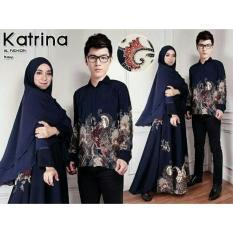 Baju Batik Pasangan Pesta / Kemeja Batik Pasangan Kondangan / Couple Batik Muslim Sutre Syar'i Katrina Navy