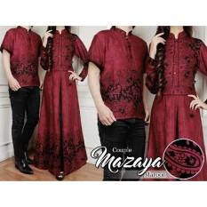 Baju Batik Pasangan Pesta   Kemeja Batik Pasangan Kondangan   Couple Muslim  Batik Mazaya Maroon a727a28b74
