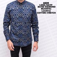 Baju Batik Pria Lengan Panjang - Kemeja Batik Pria - Batik Long Biru Diamond - Batik Songket Terbaru - Grosir Pakaian Batik Murah