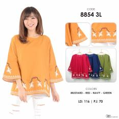 Harga Baju Blouse Katun Bordir Wanita Free Size Fashion Atasan Wanita 8854 Zetta Jumbo Murah Branded