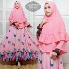 Baju Busana Muslim Balotelly Zaskia Peach Fashion Wanita Gamis Pesta