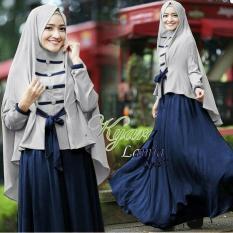 Baju Busana Muslim Gamis Syari Remaja/Pakaian Syari Lamia Navy Baru