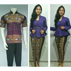 Baju Couple Batik Muslim Terbaru BSG400 Ungu