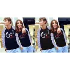 Grosir Baju Couple Murah - Kaos Kapel Lengan Panjang - Pasangan Soulmate Hitam