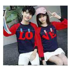 Baju Couple Lengan Panjang / Kaos pasangan 10659 Jemuran Love Navy