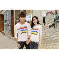 Baju Couple Lengan Panjang / Kaos pasangan / Kopel Garis Pelangi