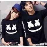 Harga Baju Couple Lengan Panjang Kaos Pasangan Kopel Lp Marshmello Black New