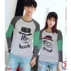 Baju Couple Lengan Panjang / Kaos pasangan / Kopel Mr Mrs Topi