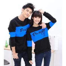 Baju Couple Lengan Panjang / Kaos Pasangan / Kopel Pusple Kombinasi Biru