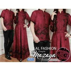 Baju Couple Muslim / Gaun Batik Gamis / Pasangan Mazaya Red