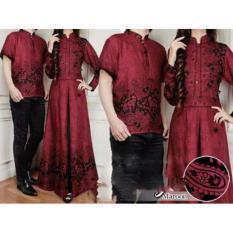 Baju Couple Muslim - Kapel Batik - Baju Gamis Couple [ Maroon ]