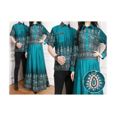 Baju Couple Pesta / Baju Pasangan Gamis Wanita Plus Kemeja Pria Kartika Warna Tosca