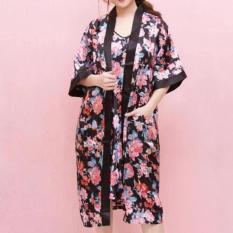 Toko Baju Daster Wanita Kimono Set Black Bj Dekat Sini