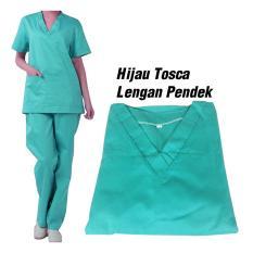 Baju Dokter / Baju Jaga / Baju Oka Lengan Pendek Warna Hijau Tosca