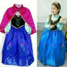 Baju dress kostum anna frozen jubah pink usia 5-6 tahun