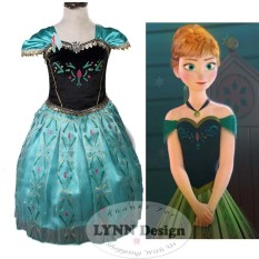 Lynn Design -Baju Dress Kostum anak gaun pesta Princess Anna elsa Frozen Green