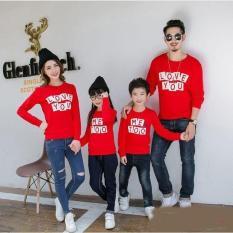 Baju Family Couple   Kaos Pasangan Keluarga   Kopel   Kapel 2 Anak Lengan Panjang Love you