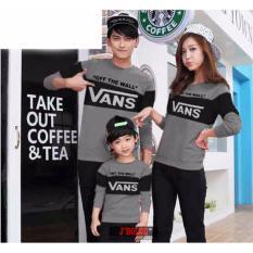 Baju Family Couple / Kaos Pasangan Keluarga Lengan Panjang Abu