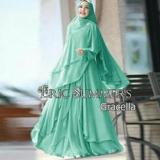 Baju Fashion Wanita Dress Gaun Muslim Gamis Premium Cracella Hijau Muda